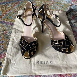 Reiss black & gold stilettos in excellent cond